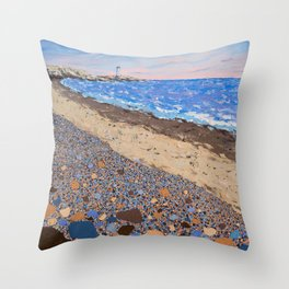 Seaside Popples with Lighthouse Throw Pillow