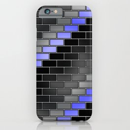 BRICK WALL #2 (Black, Grays & Light Blue) iPhone Case