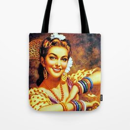 Jesus Helguera Painting of a Mexican Calendar Girl with Bangles Tote Bag