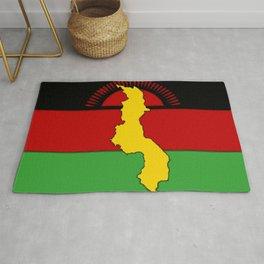 Malawi Map on a Malawian Flag Rug
