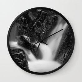 Shelving Rock Stream - Black & White Wall Clock