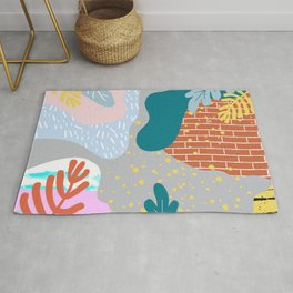 ABSTRACT TROPICAL JUNGLE PATTERN CLASHING Rug