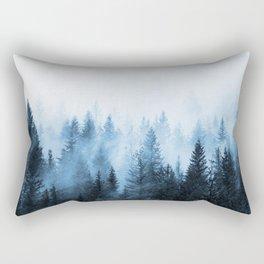 Misty Winter Forest Rectangular Pillow