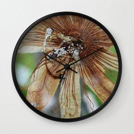 Vintage Vanilla Passion Flower Detail Wall Clock