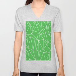 Geometric Cobweb (White & Green Pattern) Unisex V-Neck