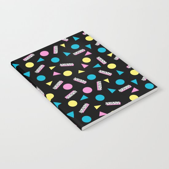 Max Out - abstract memphis minimal colorful neon bright happy shapes geometric 1980s 80s retro  Notebook