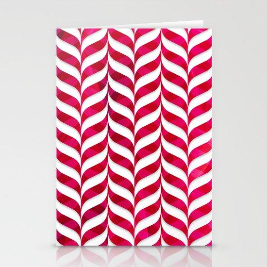 Red Leaf Herringbone Stationery Cards