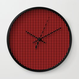 Small Black and Donated Kidney Pink Halloween Gingham Check Wall Clock