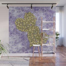 Butterfly swarms in heart shape on purple web texture Wall Mural