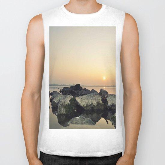 sea stones sunset ### Biker Tank