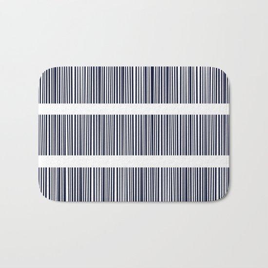 Blue- White- Stripe - Stripes - Marine - Maritime - Navy - Sea - Beach - Summer - Sailor 6 Bath Mat