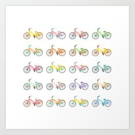 Colorful bikes Art Print