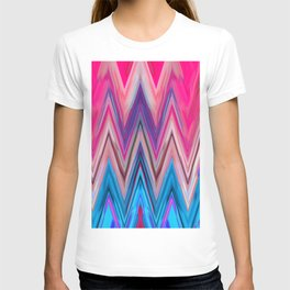 Bright Pink Teal Ikat Chevron Aztec Pattern T-shirt