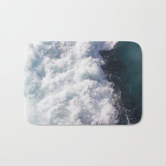 sea - midnight blue wave Bath Mat