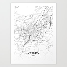Oviedo, Spain - Light Map Art Print