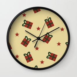 Gifts and stars pattern Wall Clock