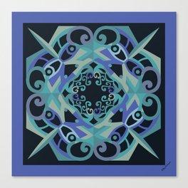 Thanksgiving Mandala - Blue Black Canvas Print