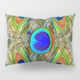 BLUE-GREEN PEACOCK EYE  FEATHERS BLUISH DESIGN Pillow Sham