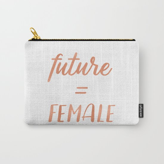 The Future is Female Pink Rose Gold on Black Carry-All Pouch