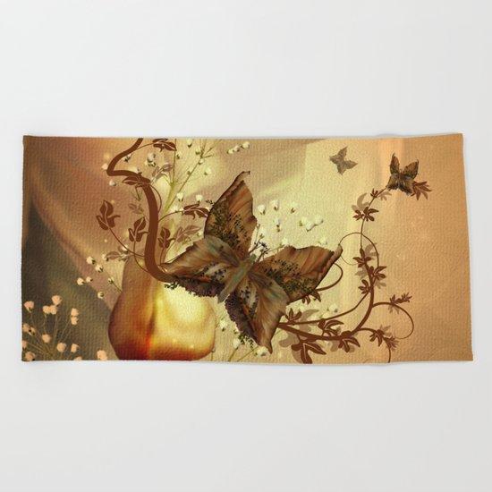Wonderful fantasy butterflies Beach Towel