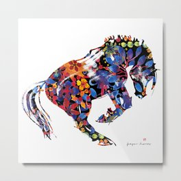 Flower Horse Metal Print