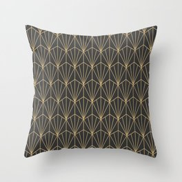 Art Deco Vector in Charcoal and Gold Throw Pillow