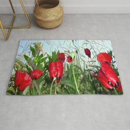 Landscape Close Up Poppies Against Morning Sky Rug