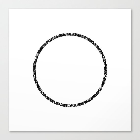 Scribble Ring - Black ink, black and white, minimalistic, ring artwork Canvas Print
