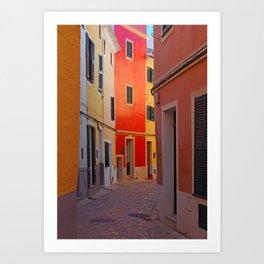 Glowing Street in Ciutadella Art Print
