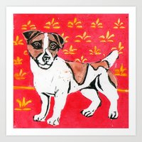 jack russell Art Prints featuring Jack Russell by Mandarin Duck Craft