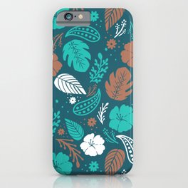 Teal & Brown Tropical Foliage Pattern iPhone Case