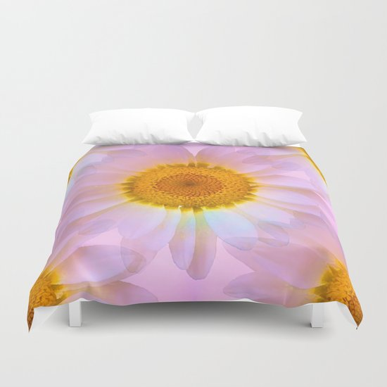 Pink Iridescent Floral Abstract Duvet Cover