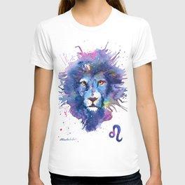 Watercolor Leo Zodiac Splatters Lion T-shirt