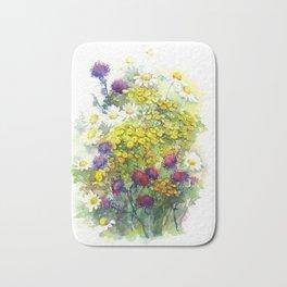 Watercolor meadow flowers Bath Mat