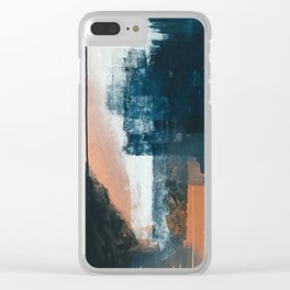 Vienna: a minimal, abstract mixed-media piece in pinks, blue, and white by Alyssa Hamilton Art Clear iPhone Case