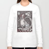 snow Long Sleeve T-shirts featuring Alice's First Snow by Judith Clay