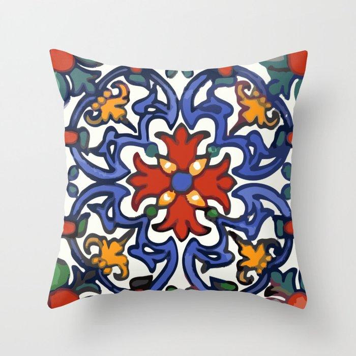 Talavera Mexican tile inspired bold design in blue, green, red, orange Deko-Kissen