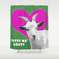 totes Shower Curtains featuring Totes Ma Goats Pink by BACK to THE ROOTS