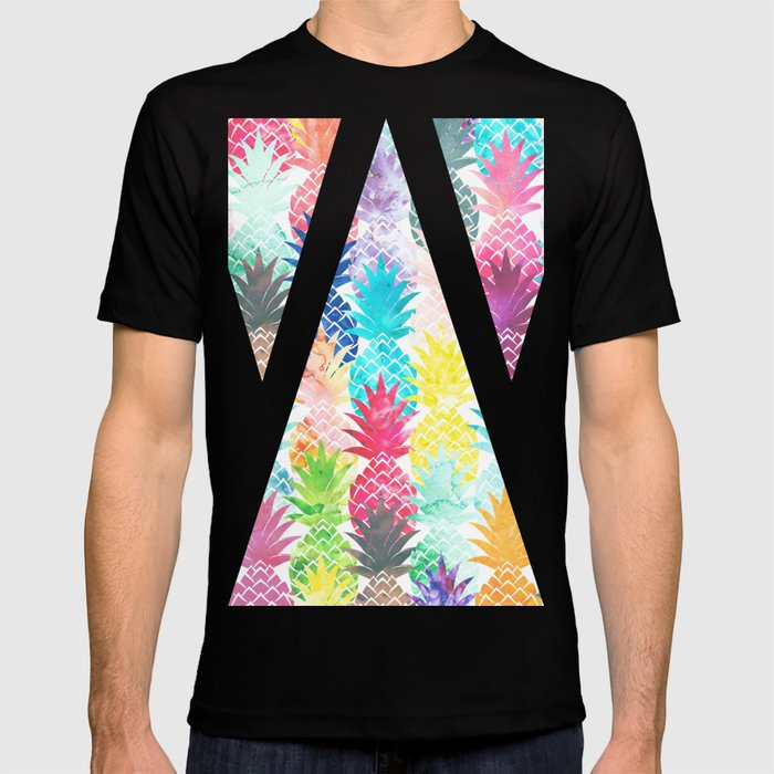 Hawaiian Pineapple Pattern Tropical Watercolor T-shirt