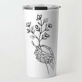 Skeleton Hand Holding Wildflowers Design Travel Mug