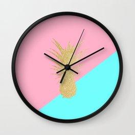 Pink and mint geometric faux gold glitter pineapple Wall Clock
