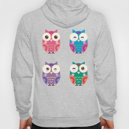 bright colorful owls on white background Hoody