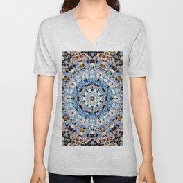 Blue Brown Folklore Texture Mandala Unisex V-Neck
