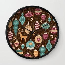 Golden Christmas Ornaments Wall Clock