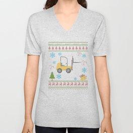 Forklift Operator Christmas Ugly Shirt Funny Shirt Unisex V-Neck