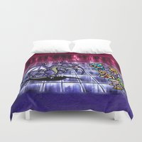 final fantasy Duvet Covers featuring Final Fantasy Bahamut Battle  by likelikes