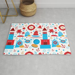 pattern with sea icons on white background. Seamless pattern. Red and blue Rug