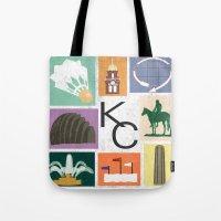 kansas city Tote Bags featuring Kansas City Landmark Print by Jenna Davis Designs