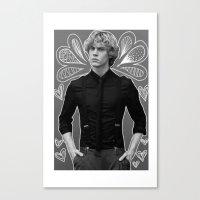 evan peters Canvas Prints featuring Evan Peters by Claudia