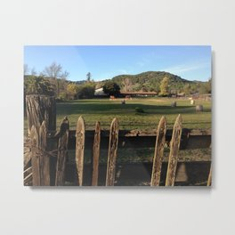 Fence and Horses Metal Print